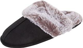 Jessica Simpson Cómoda zapatilla de piel sintética para casa con espuma de memoria antideslizante Pantuflas para Mujer