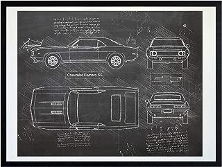 DolanPaperCo #414 Chevrolet Camaro SS (1969) Art Print, da Vinci Sketch - Unframed - Multiple Size/Color Options (11x14, Blackboard)