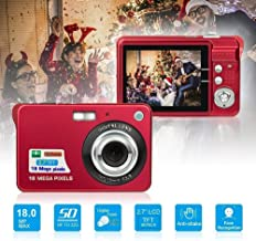 $149 » M-Fire Car with SD Card Slot (Black), 2.7 Inch 18 Megapixel 8X Zoom HD Digital Camera Card-Type Machinelike Camera for Children (Color : Red)