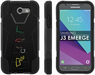 Samsung Galaxy J3 Emerge [2017] Mil-Spec [Mobiflare] [Black/Black] Dual Layer Armor Case [Kickstand] [Screen Protector] - [Poke Signs] for Galaxy [2017] [J3 Emerge] [5