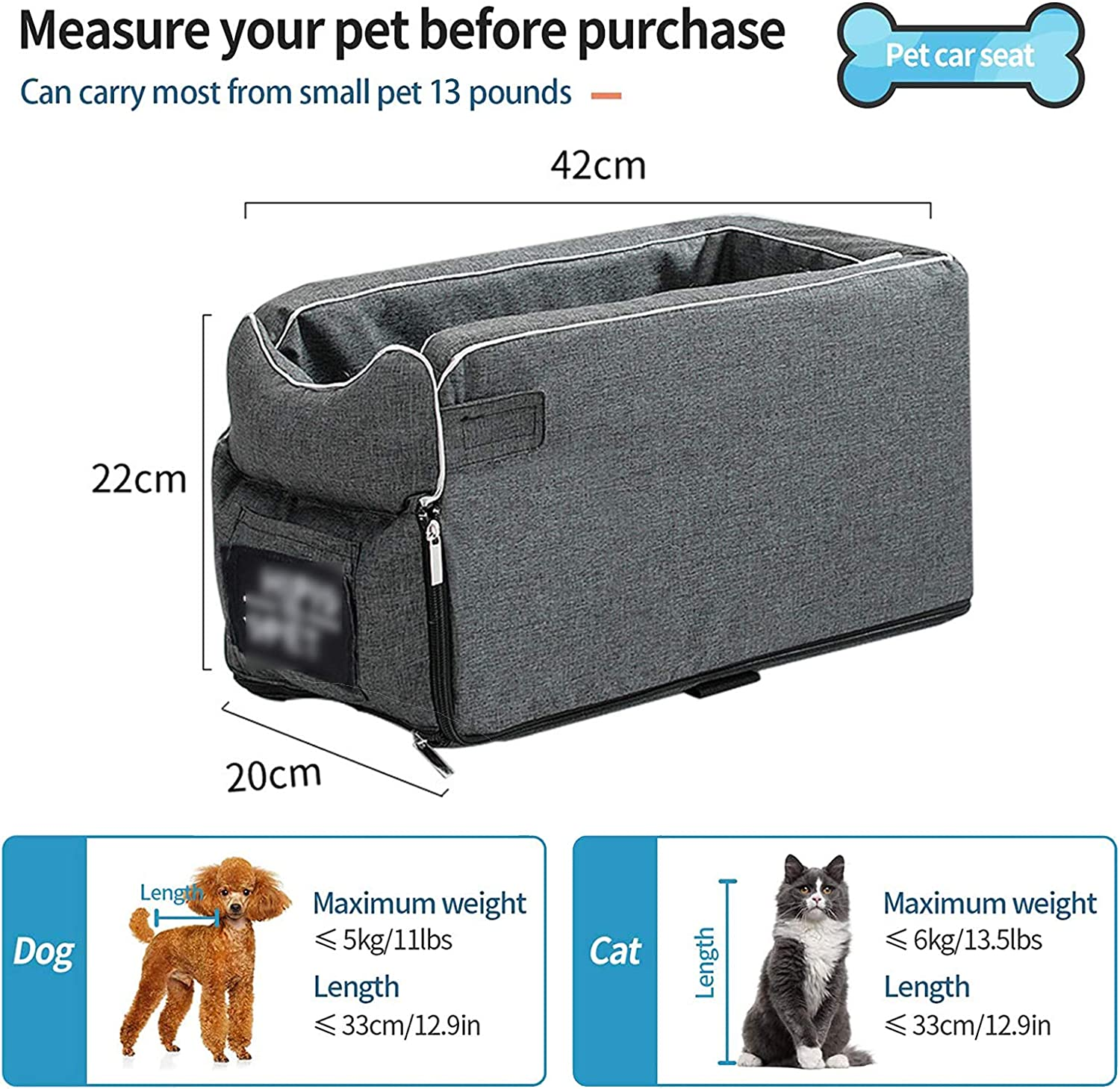 Small Dog Cat Booster Seat Puppy Travel Car Carrier Bed ON Car Armrest with Clip-On Safety Leash /& Removable Washable Cover,Dog Car Safety Seats for Cat And Small Dog Up To 13 Lbs