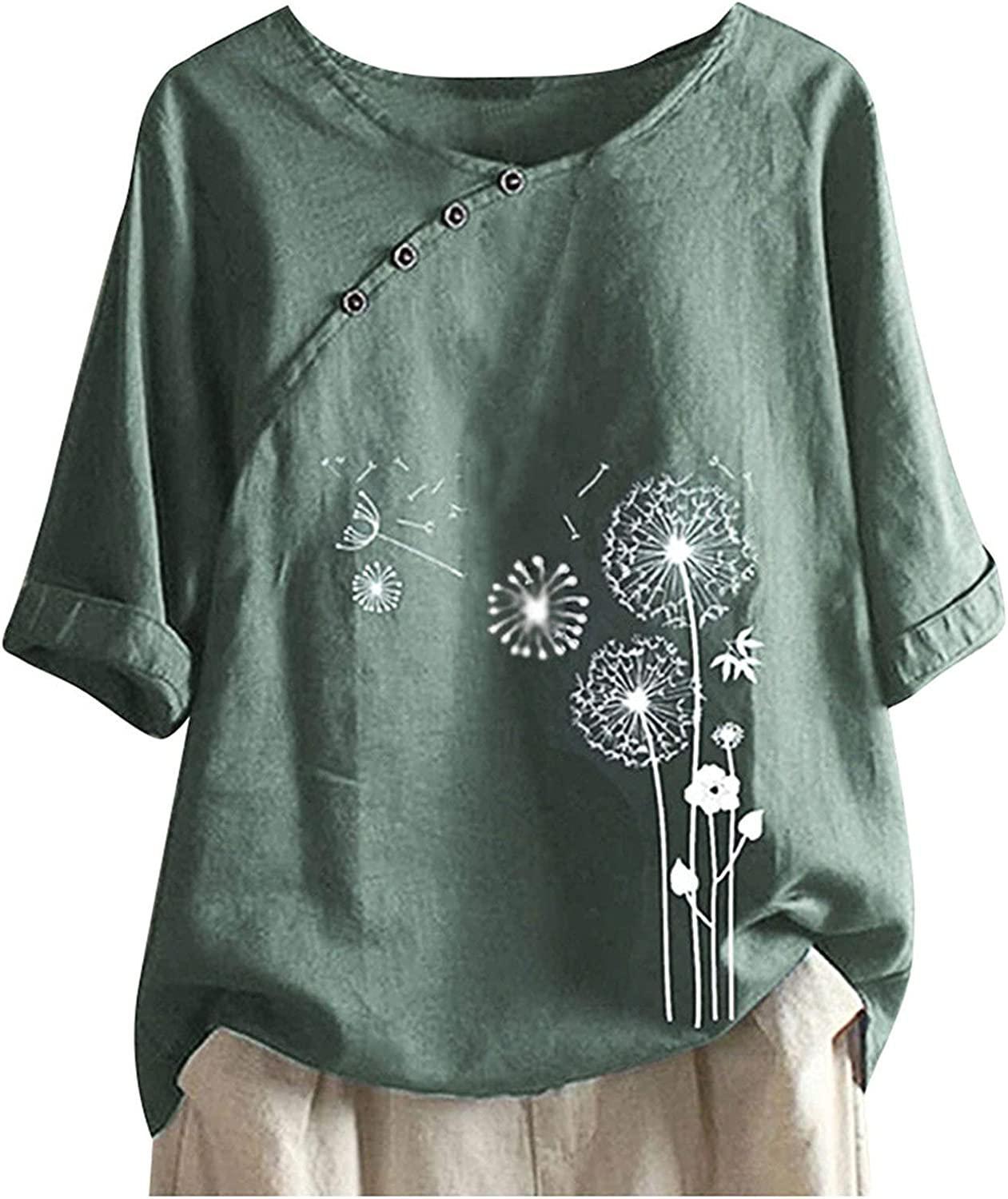 Women Max 61% OFF Blouses and Tops Fashion for Tee Casual Free Shipping New Work Butto Printed