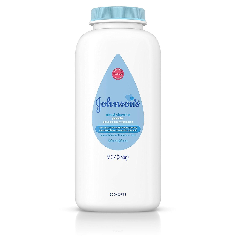 Johnson's Baby Powder with Naturally Derived Cornstarch Aloe & Vitamin E, Hypoallergenic, 9 oz