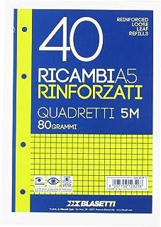 Blasetti 2329 Pièces de rechange A5 renforcées par un ruban transparent, carrés, blanches, 80 grammes