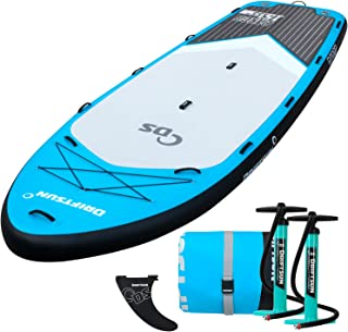 Driftsun Party Barge 15 英尺充气站立桨板,大型多人充气 SUP 带 2 个双作用手泵快速充气,15 英尺长,8 英寸厚