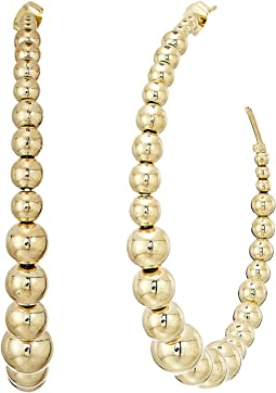 Polished Gold Balls Open Circle Direct Post Ear Earrings