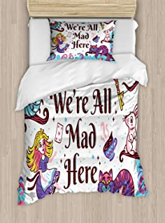 VROSELV-HOME Alice in Wonderland Duvet Cover Set Twin Size,We are All Mad Here Quote with Caterpillar White Rabbit Cheshire Cat,Kids Bedding-Does Not Shrink Or Wrinkle,Multicolor