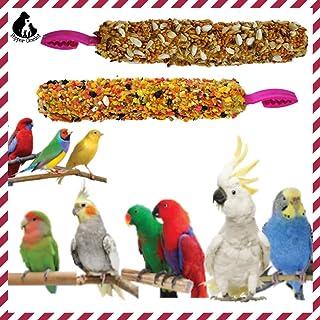 Bird Treat Sticks (Pack of 4-2 Nut Sticks + 2 Fruit Sticks) Finch Budgies Cockatiel Africans Parakeets Conures