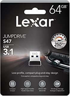 Lexar Jumpdrive S47 64GB USB 3.1 Flash Drive Black Upto 250MB/s