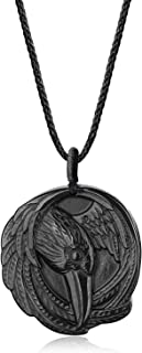 coai Raven Obsidian Stone Pendant Necklace for Men Women