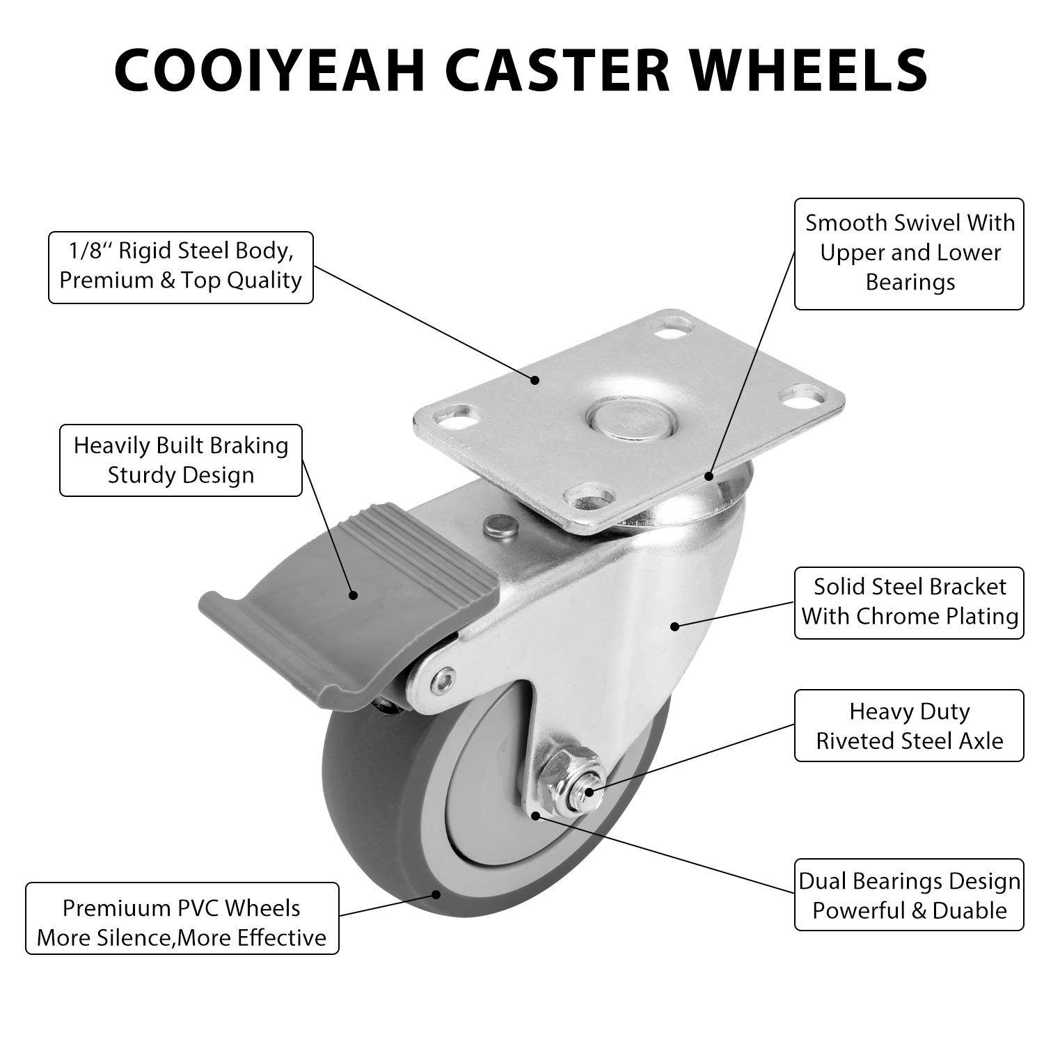 2 with Brake and 2 Without 4 TPR Super Silent Caster Heavy Duty1200lbs Swivel Caster Wheels with Safety Dual Locking Casters Set of 4