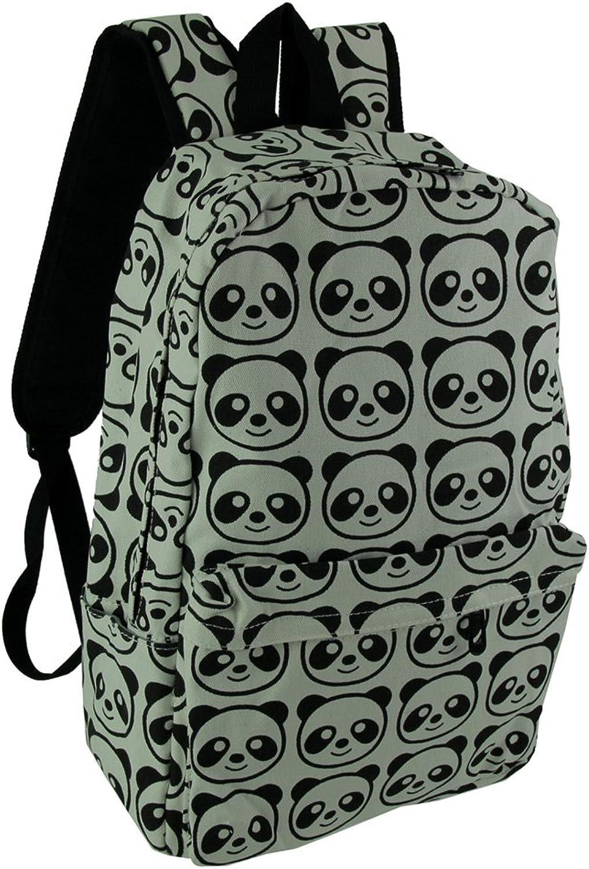 Black and White Happy Panda Print Canvas Backpack