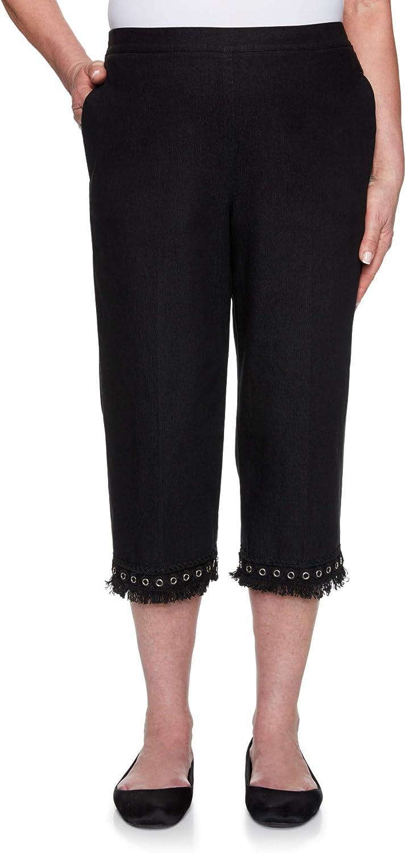 Alfred Dunner Women's Checkmate Denim Lace Fringe Capri Pant