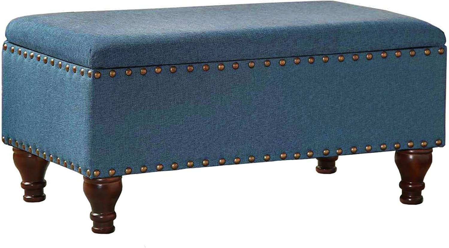 Kinfine Linen Storage Bench with Nailhead Trim and Hinged Lid, bluee