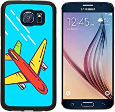 MSD Premium Samsung Galaxy S6 Aluminum Backplate Bumper Snap Case IMAGE ID 37146497 Vector illustration of colorful airplane flying right up leaving a trail on blue background Bright