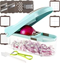 Ourokhome Onion Dicer Food Chopper - 8 Blade Veggie Mandolin Slicer for Vegetable, Fruit, Cheese with Cleaning Brush and V...