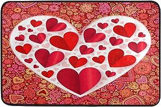 JSTEL Nonslip Door Mat Home Decor, Happy Valentines Love Heart Durable Indoor Outdoor Entrance Doormat 23.6 X 15.7 Inches