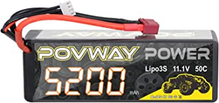 5200mAh 3S RC Battery POVWAY 11.1V 50C Hard Case with Deans T Plug for RC Cars, RC Truck,Helicopter, Airplane