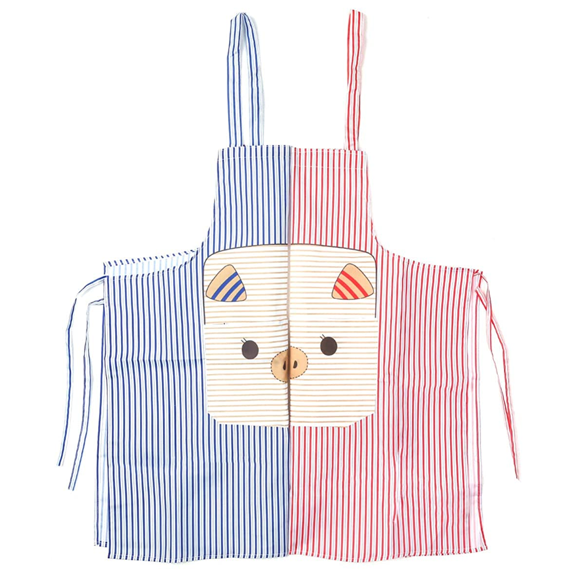 Huachi 2 Pack Aprons Bib Striped with 2 Pockets Chef Kitchen Apron for Women Men Couples Cooking Baking Valentines Day Anniversaries Gift, Cute Piggy Pattern