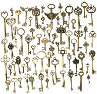 JKLcom 69 Pcs Skeleton Keys Antique Bronze Vintage Skeleton Keys Extra Large Mixed Vintage Skeleton Keys Charms Necklace Pendant DIY Jewelry Makin,69 Styles