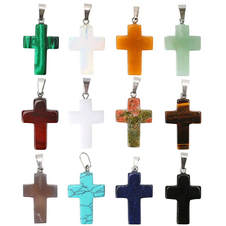 Wholesale 12PCS Cross Quartz Crystal Pendant Assorted Natural Quartz Healing Charms Bulk for Jewelry Making