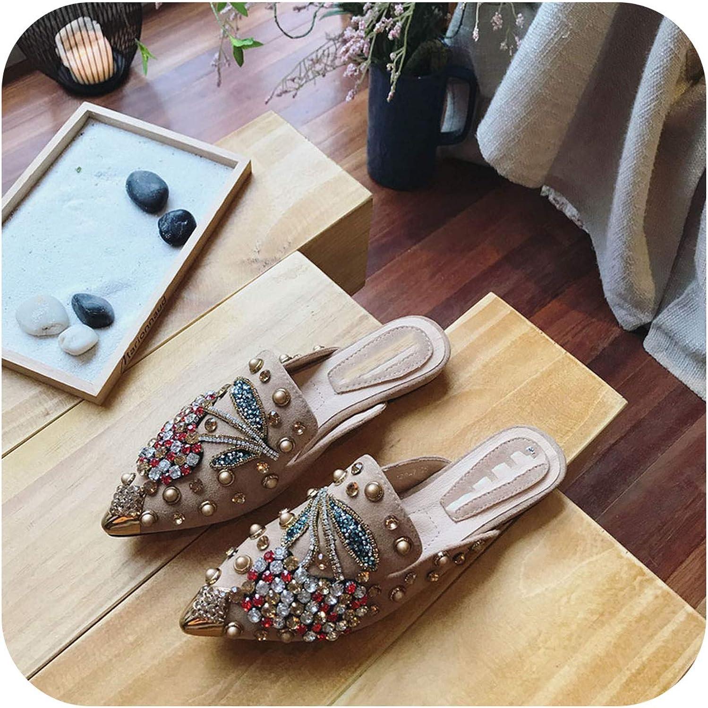 FAT BABY Women Slipper Pointed Toe Crystal Flower 2019 Spring Female Luxury Half Slippers Lady Outside Wear Slides Woman Slippers