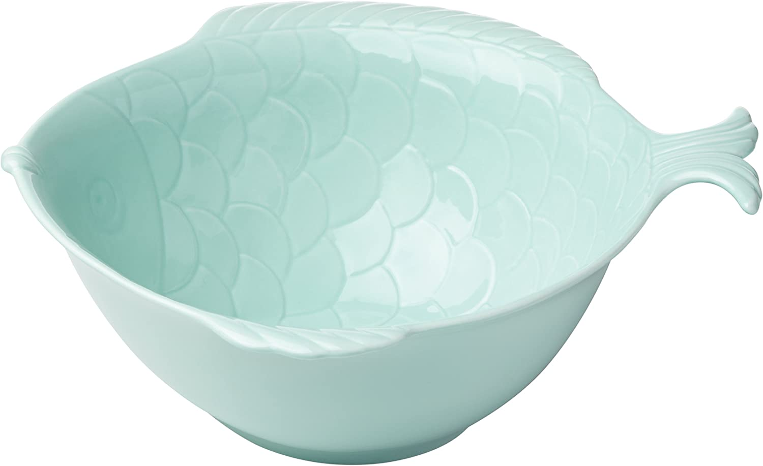 Lenox British Colonial Carved Fish Serving Bowl, Aqua