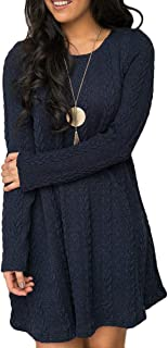 Sweater Dresses Tunic for Women, Long Sleeve Crewneck Knit Pullover Sweater