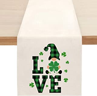 St. Patrick's Day Gnome Table Runner, Spring Love Shamrock Table Runners for Kitchen Dining Coffee or Indoor and Outdoor H...