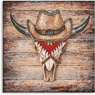 B BLINGBLING Cow Skull Canvas Wall Art Decor, Bull Skull Head with Boho Scarf and Western Cowboy's Hat in Brown Rustic Woo...
