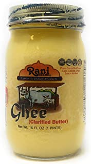 Rani Pure Natural Ghee from Grass Fed Cows (Clarified Butter) 1lb (16oz) ~ Glass Jar   Paleo Friendly   Keto Friendly   Gluten Free