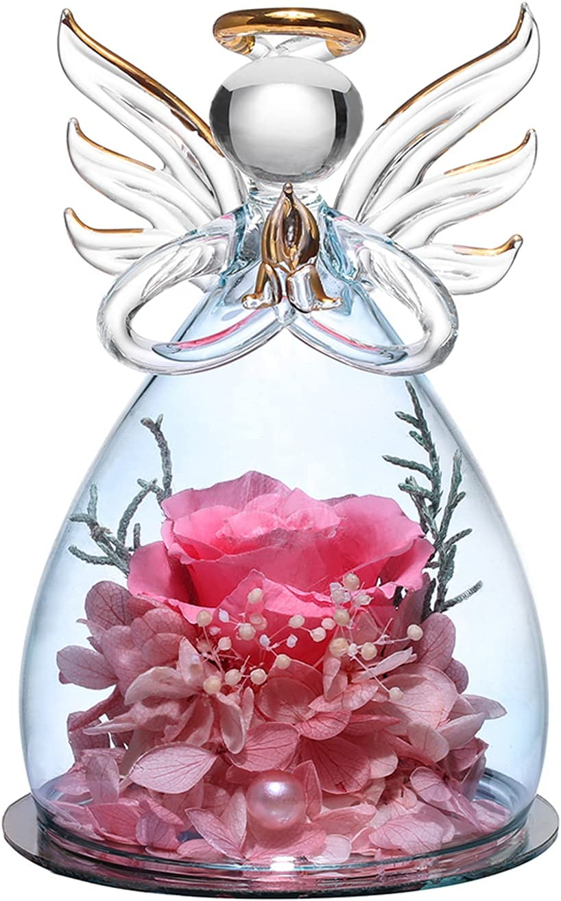 ANLUNOB Angel Gifts for Grandma Mom, Angel Figurines with Real Pink Rose, Wedding Anniversary Decor Thank You Gifts for Women