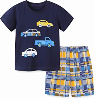 Toddler Little Boys Summer Short Sets Cotton Casual Crewneck Short Sleeve Shirt Shorts Playwear Clothes Outfits Sets 2-7Y