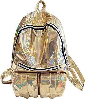 Mia Hologram Laser PU Bling Glitter Backpack School Book Bag Shoulder Handbag Gold