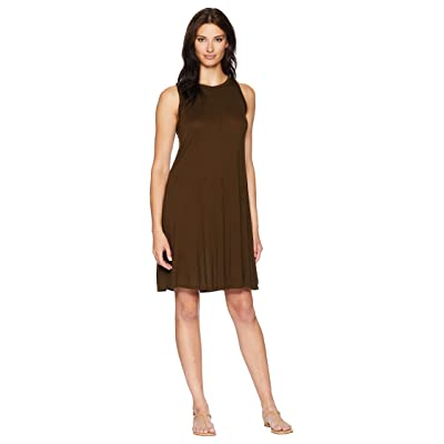Three Dots Vintage Jersey Sleeveless Swing Dress (Olive Branch) Women