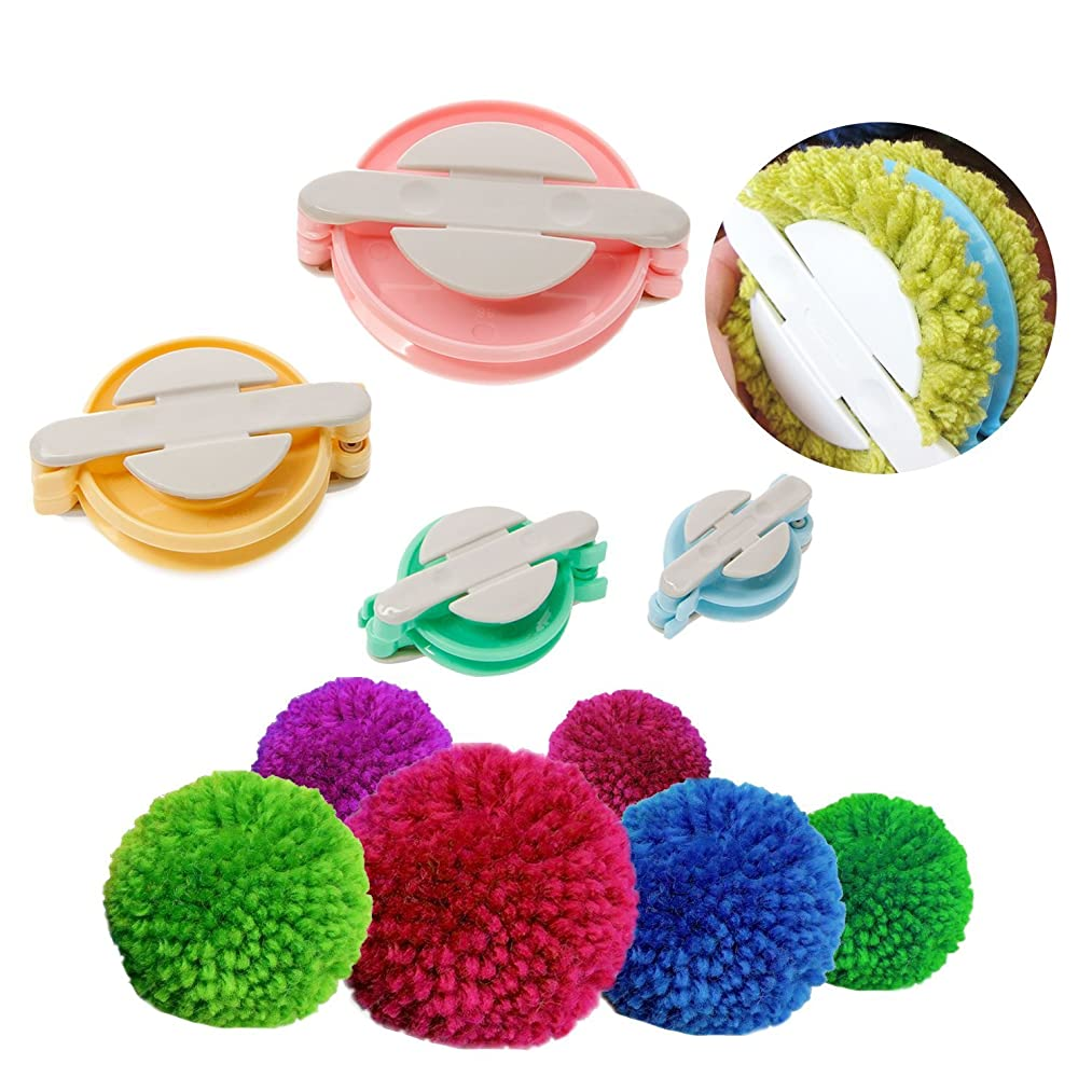 Dometool Pompom Maker for Fluff Ball DIY Weaver Needle Wool Knitting Craft Tool Set 4 Size