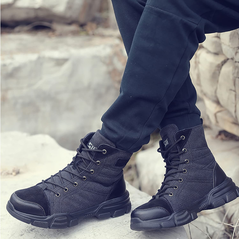 SUADEX Steel Toe Boots for Men Women Indestructible Steel Toe Shoes Non-Slip Comfortable Work Boot for Men Work & Safety Boots Construction Shoes