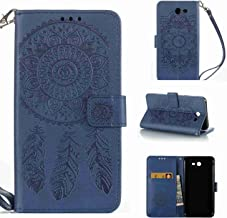 Galaxy J7 V Case, Galaxy J7 Perx Case, Galaxy J7 Sky Pro Case, Linkertech [Kickstand Feature] PU Leather Wallet Flip Pouch Case Cover with Wrist Strap & Card Slots for Samsung Galaxy J7 2017 (C-2)