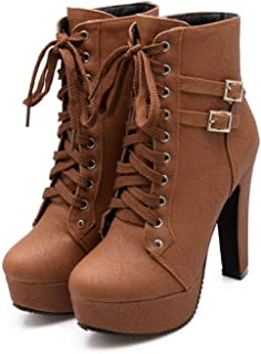 29a93c613d GOUPSKY Womens High Heel Boots Sexy Platform Shoes Lace up Buckle Pu Leather  Round Toe Chunky