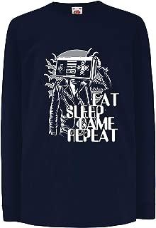 lepni.me Kids T-Shirt Eat Sleep Game Repeat - Video Game Lover Gift