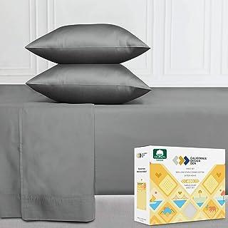California Design Den 100% Cotton Sheet Set, Slate Gray King Sheets 4 Piece Set, Long-Staple Combed Pure Natural 400 Threa...