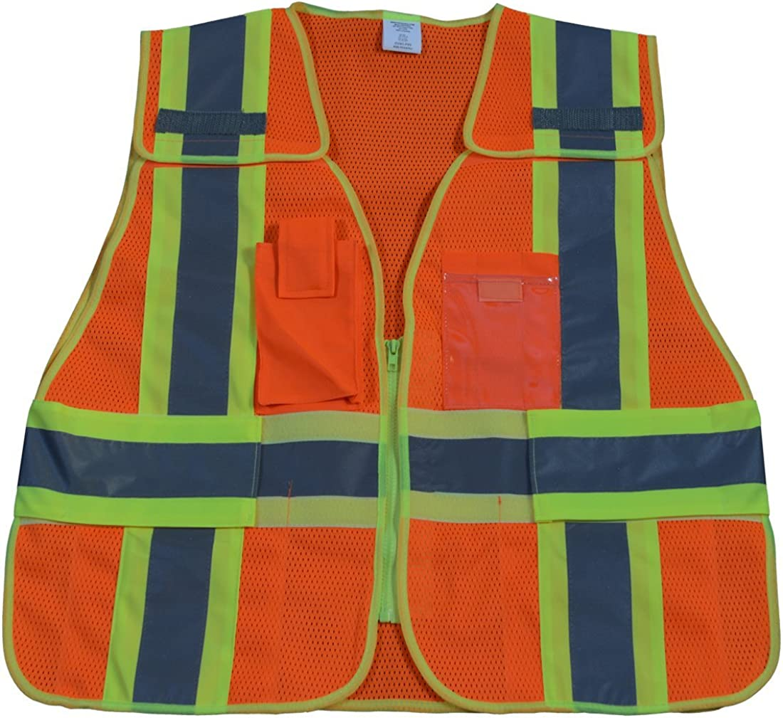 Public Safety Vest 207-2006 107-2010 Class 2 Orange Mesh with Lime Binding 5-Point Breakaway 5 Pockets44; Plus 2X & 5X