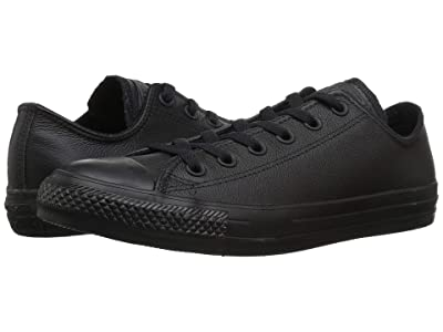 Converse Chuck Taylor(r) All Star(r) Leather Ox (Black Mono) Shoes