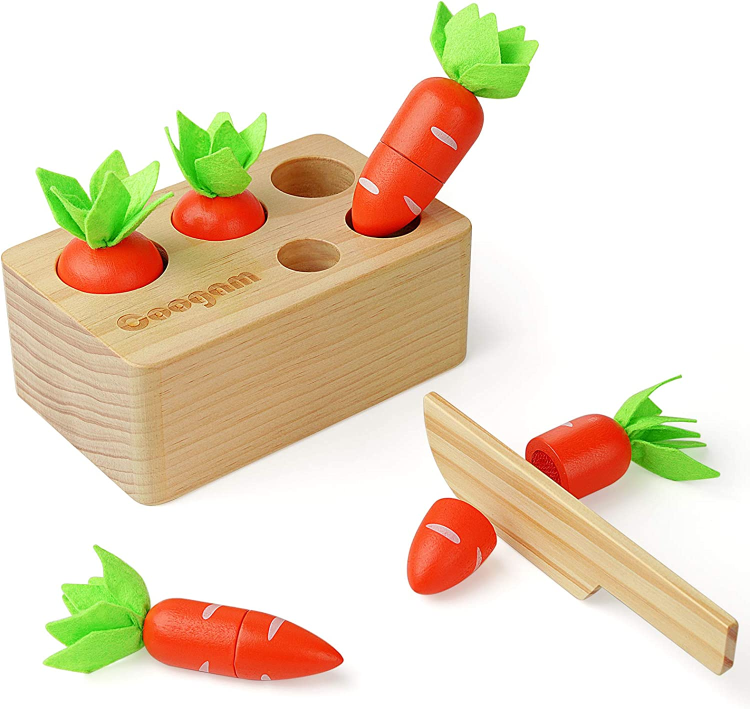 Coogam Baby Carrots Sorting Toy, Wooden Montessori Color Shape Sorter Cutting Harvest Matching Game for Toddler Fine Motor Skill, Early Learning Preschool Year Old Educational Gift Toy