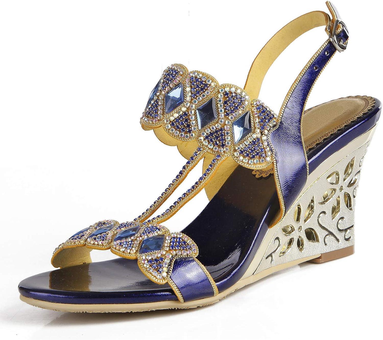 Suetar Damen Sandalen mit Keilabsatz aus Kristall für die Hochzeit L034