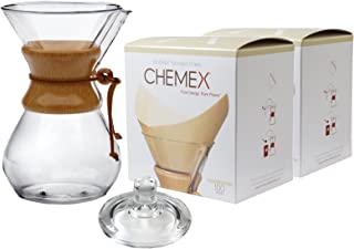Chemex Classic Series, Pour-over Glass Coffeemaker, 10-Cup with Cover and 200 Count Bonded Square Coffee Filters