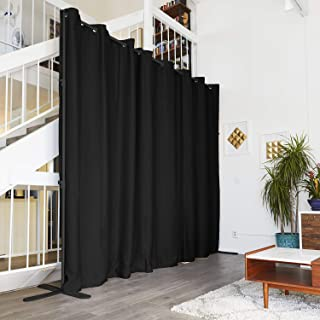 RoomDividersNow End2End Room Divider Kit - Small A, 8ft Tall x 5ft - 6ft 8in Wide, Midnight Black