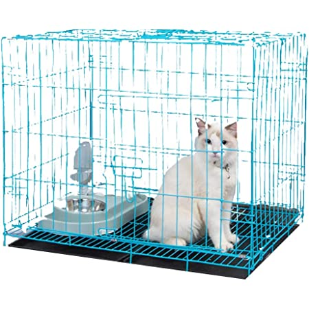 BURAQ Foldable Metal pet House crates for Dogs Puppies Kittens Rabbits Persian Cats with Removable Tray (2.5 FT ( 30 INCH ), Black)