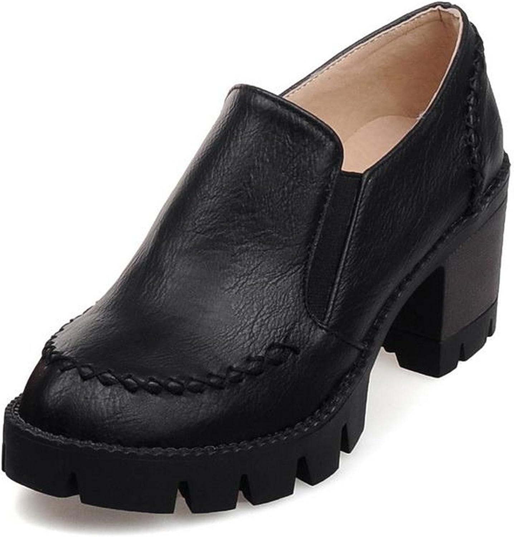 NeeKer shoes Plus Size 34-43 Slip on Women Pumps Thick High Heels Platform shoes Woman