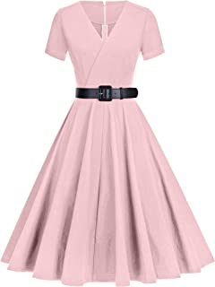GownTown Women's 50S Vintage Classic Wrap Swing Dresses with Pockets